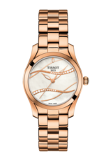 Tissot T-Wave II Mother of Pearl Dial Diamond Set Rose PVD Gold Plated Womens Quartz Watch T1122103311100
