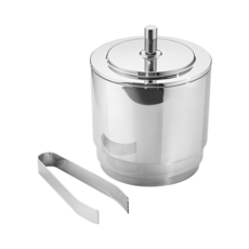 Georg Jensen Living Stainless Steel MANHATTAN Ice Bucket with Tongs 3586086
