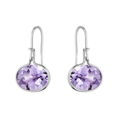 Georg Jensen SAVANNAH Sterling Silver & Amethyst Hook Drop Earrings 10003041
