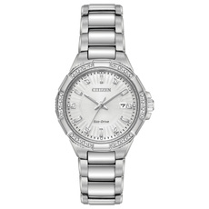 Citizen Eco-Drive Riva Silver Dial Diamond Set Stainless Steel Womens Watch EW2460-56A