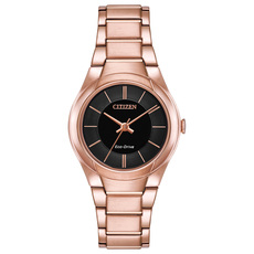 Citizen Eco-Drive Paradigm Black Dial Rose Gold Plated Womens Watch FE2093-54E