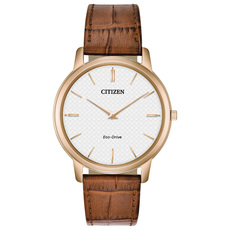 Citizen Eco-Drive Stiletto White Dial Rose Gold Plated Mens Watch AR1133-15A