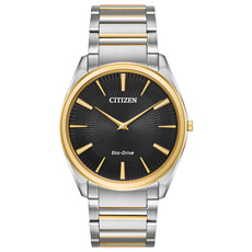 Citizen Eco-Drive Stiletto Black Dial Two Tone Mens Watch AR3074-54E
