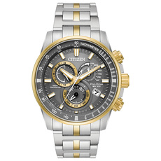 Citizen Eco-Drive Perpetual Chrono A-T PCAT Grey Dial Two Tone Mens Radio Controlled Chronograph Watch AT4124-51H