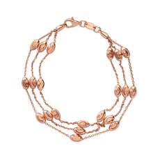 Links of London Rose Vermeil Essentials Beaded Chain 3 Row Bracelet (large) 5010.3682