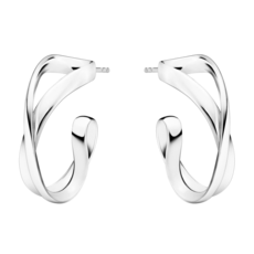 Georg Jensen INFINITY Sterling Silver Earhoops Earrings (small) 3539283