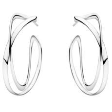 Georg Jensen INFINITY Sterling Silver Earhoops Earrings (large) 3539267