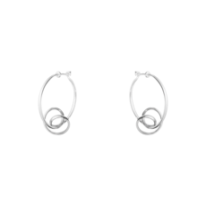 Georg Jensen FORGET-ME-KNOT Sterling Silver Hoop Earrings 3539342