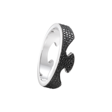 Georg Jensen FUSION 18ct White Gold & Black Diamond End Ring 3570900