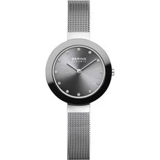 Bering Ceramic Collection Grey Dial Stainless Steel Womens Quartz Watch 11429-389