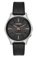 Citizen Eco-Drive Modena Black Dial Stainless Steel Womens Watch EM0591-01E
