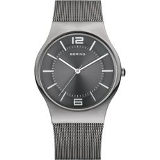 Bering Ceramic Collection Grey Dial Stainless Steel Mens Quartz Watch 32039-309