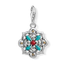 Thomas Sabo Charm Club Sterling Silver Multi-Stone Ethnic Lotus Flower Charm 1465-334-7
