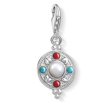 Thomas Sabo Charm Club Sterling Silver Multi-Stone Ethnic Lotus Coin Charm 1467-336-7