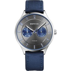 Bering Titanium Collection Grey & Blue Dial Mens Quartz Watch 11539-873