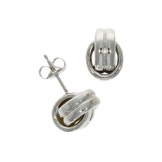 9ct White Gold Polished Oval Knot Stud Earrings