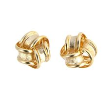 9ct Gold Frosted Ribbon Knot Stud Earrings