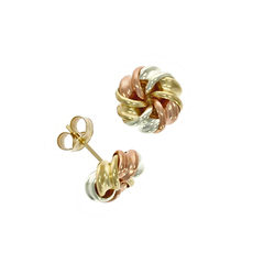 9ct 3 Colour Gold Fancy Knot Stud Earrings