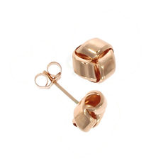 9ct Rose Gold Simple Polished Knot Stud Earrings