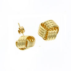 9ct Gold Large Ribbed Knot Stud Earrings