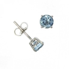 9ct White Gold Round Aquamarine Claw Set Stud Earrings