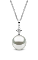 YOKO London 18ct White Gold South Sea Pearl & Diamond Set Pendant Necklace