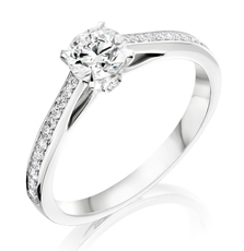 Charles Green & Son Platinum Solitaire 4 Claw Set 0.70ct Diamond Ring