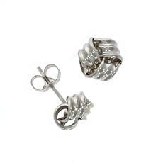 9ct White Gold Ribbed Knot Stud Earrings