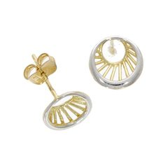 9ct Yellow & White Gold Abstract Eye Stud Earrings