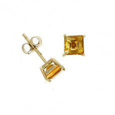9ct Gold Square Citrine Claw Set Stud Earrings
