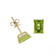 9ct Gold Octagonal Peridot Claw Set Stud Earrings