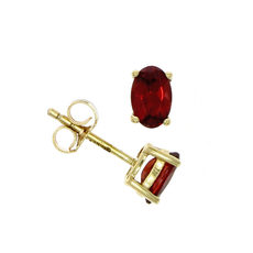 9ct Gold Oval Garnet Claw Set Stud Earrings