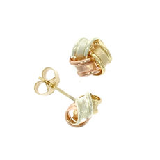 9ct 3 Colour Gold Frosted Ribbon Knot Stud Earrings