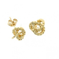 9ct Gold Textured Loop Knot Stud Earrings