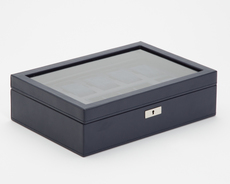 WOLF Howard Navy 7 Piece Watch Storage Box with Tray 465217