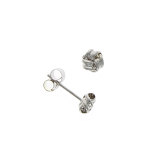 9ct White Gold Small Ribbed Knot Stud Earrings
