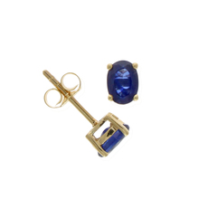 9ct Gold Oval Sapphire Claw Set Stud Earrings