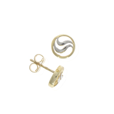 9ct Yellow & White Gold Circle & Wave Stud Earrings