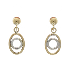 9ct Yellow & White Gold Oval & Circle Drop Earrings