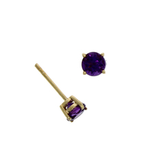 9ct Gold Round Amethyst Claw Set Stud Earrings