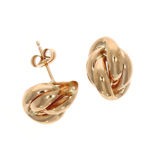 9ct Rose Gold Oval Polished Knot Stud Earrings