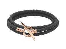 Shaun Leane Black Woven Leather & Rose Vermeil Quill Wrap Bracelet SLS702RGBLK