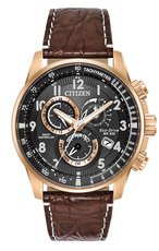 Citizen Eco-Drive Perpetual Chrono A-T PCAT Black Dial Rose Gold Plated Mens Radio Controlled Chronograph Limited Edition Watch AT4133-09E
