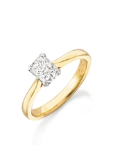 Phoenix Cut 18ct Gold Solitaire 4 Claw Set 0.30ct Diamond Ring