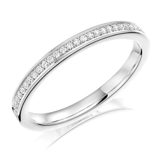 Charles Green & Son Lux Collection Platinum 0.12ct Brilliant Cut Diamond Half Eternity Ring