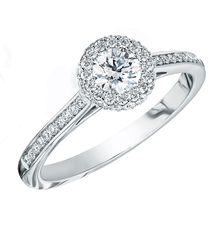 Charles Green & Son Infinity Platinum Solitaire with Halo Cluster 0.66ct Diamond Ring