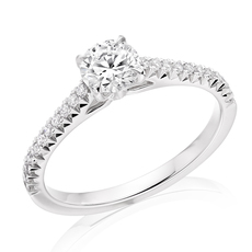 Charles Green & Son French Cut Collection Platinum Solitaire 4 Claw Set 0.72ct Brilliant Cut Diamond Ring