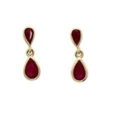 9ct Gold Pear-Shaped Ruby Rubover Set Drop Earrings