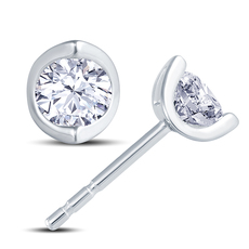 18ct White Gold 2 Claw Cup Setting 0.30ct Diamond Stud Earrings