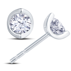 18ct White Gold 2 Claw Cup Setting 0.40ct Diamond Stud Earrings